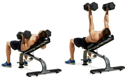 Neutral-grip dumbbell incline bench press