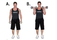 Standing dumbbell biceps curl - supination, two arms