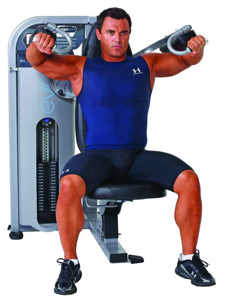Machine side raises for lateral deltoid