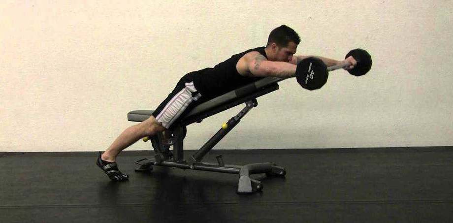 Prone incline barbell front raise