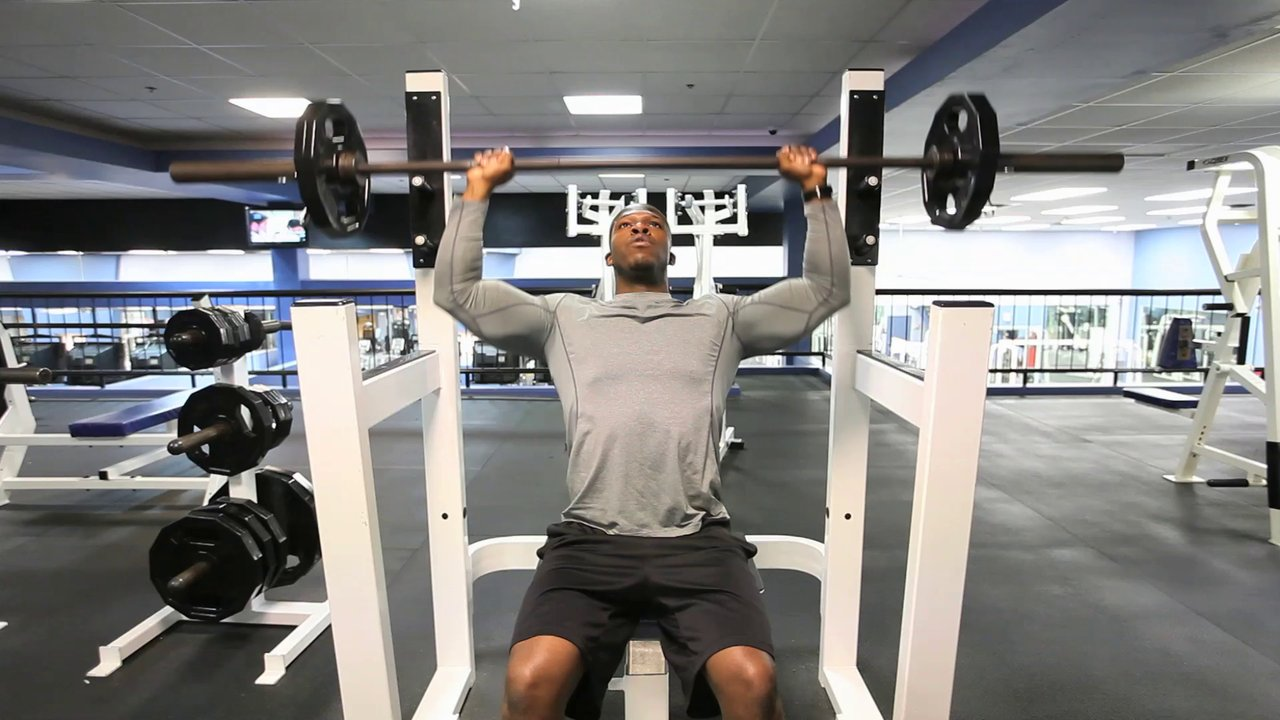 Seated Barbell Shoulder Press - Front Military Presses ...
