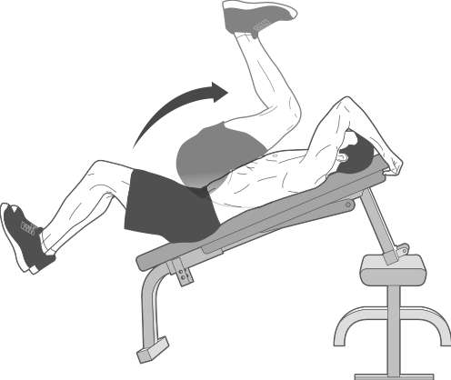 Reverse Crunch On An Incline Bench