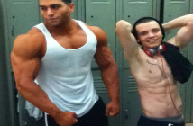 Bodybuilder and skinny guy