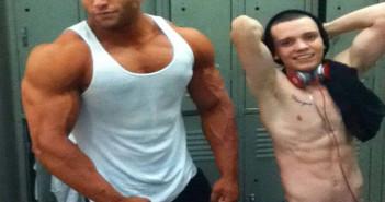 Bodybuilder and skinny guy