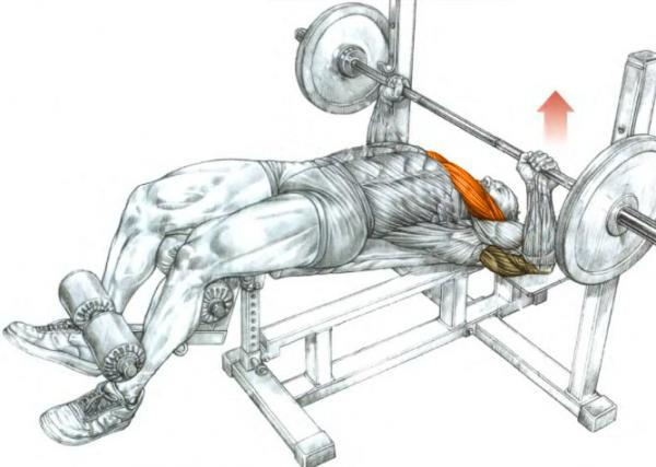 Decline bench with a rack