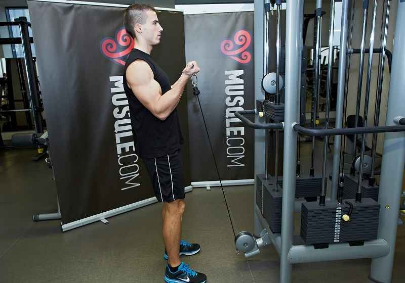Rope Pulley Curls : Standing cable curls pulley bodybuilding wizard