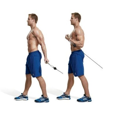 One-arm behind the back cable curl