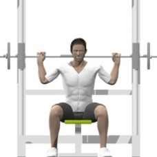 Smith-machine seated behind-the-neck shoulder press