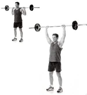 Image result for Standing Barbell Press Behind Neck