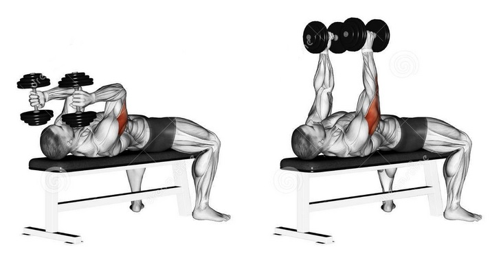Two arms lying dumbbell triceps extension