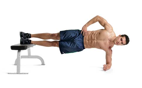 Side plank with feet on bench