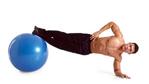 Side plan with feet on Swiss ball