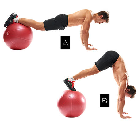 Swiss-Ball Pike Exercise • Bodybuilding Wizard