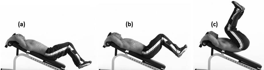 Incline Reverse Crunch - Staring Position With Knees Bent