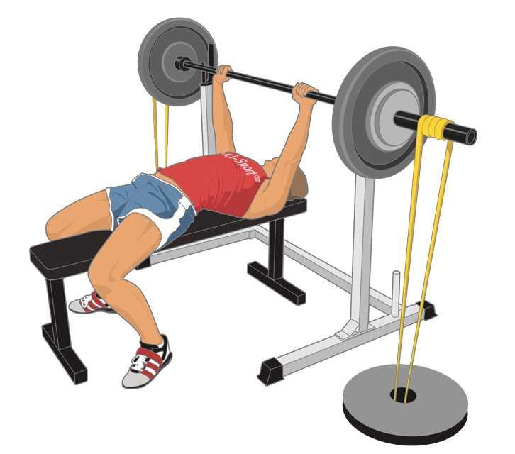 Barbell bench press with resistance tubes - targeting the lock-out of lifts