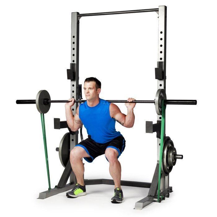 Barbell squat with resistance band