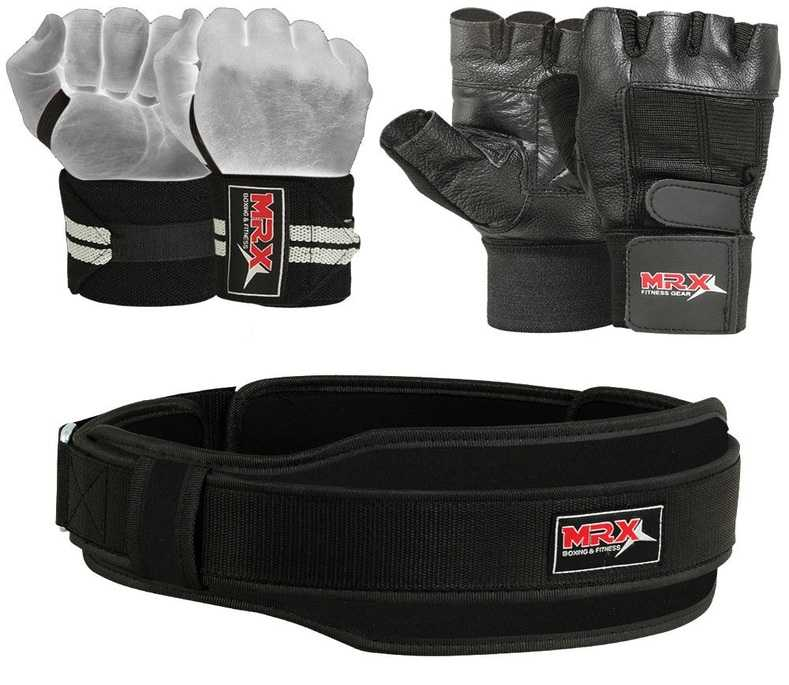 Weight lifting belt, lifting gloves and wrist wraps