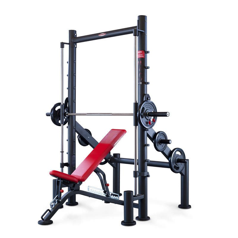 Smith machine with adjustable weight training bench