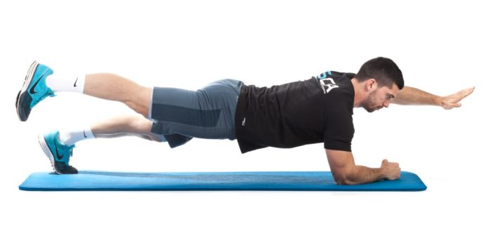 Plank with opposite arm and leg lift