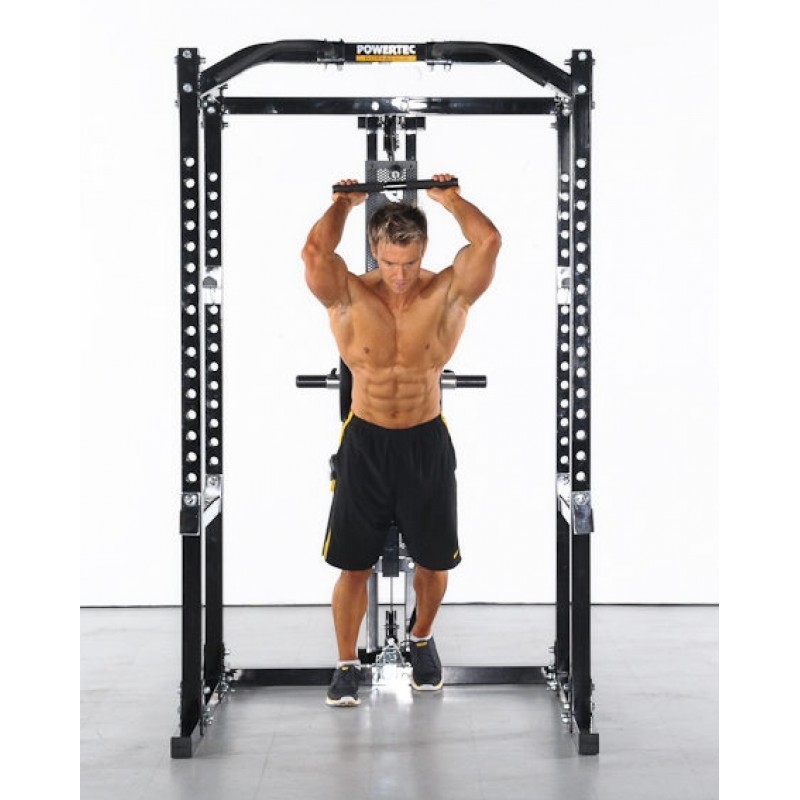 power rack with plate-loaded cable-pulley system