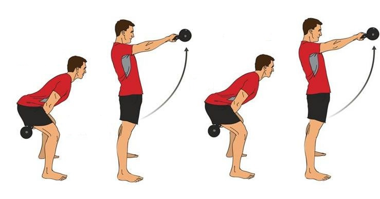 two arm kettlebell swing exercise instructions
