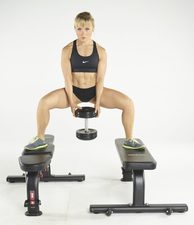 deep elevated sumo squat dumbbell
