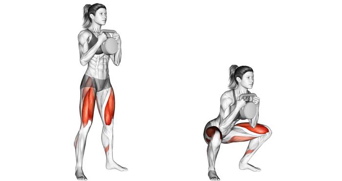 kettlebell goblet squat exercise
