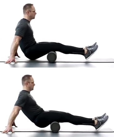 foam roller hamstring roll - technique with two legs