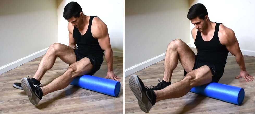 single leg foam roller hamstring roll