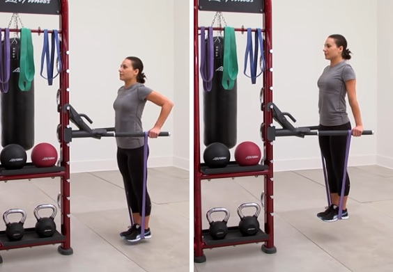Band assisted dips with extended knees