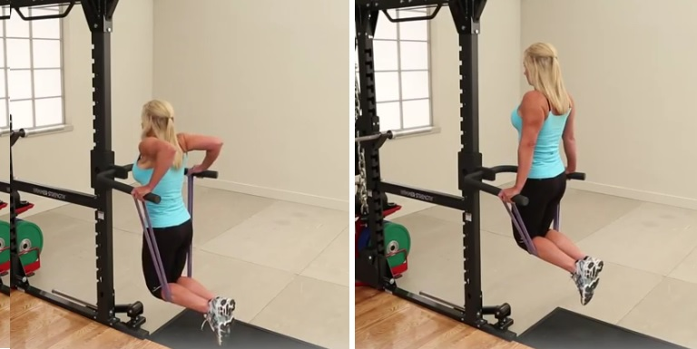 Band-assisted triceps dips