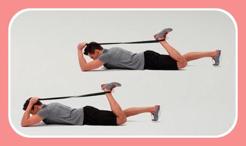 lying quad stretch with elastic band