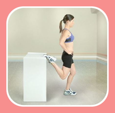 standing quadriceps stretch with leg support
