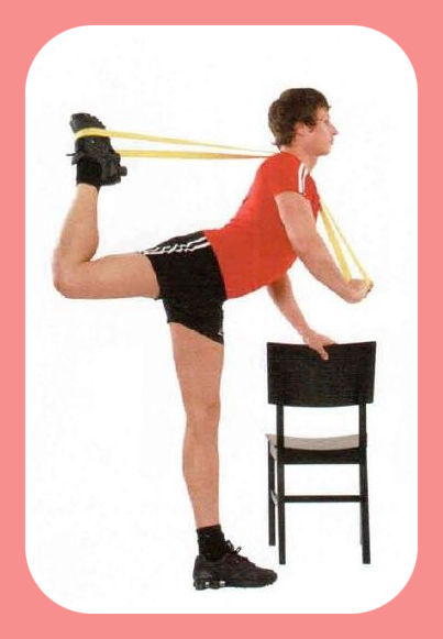 Resistance band standing quad stretch