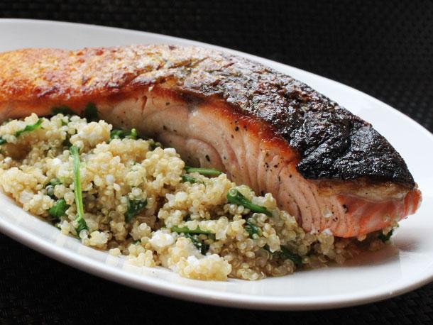 skillet salmon with quinoa, feta, and arugula