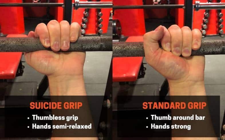 Thumbless grip bench press