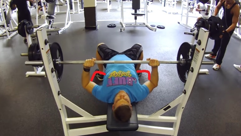 bench press: upper arms at 45 degrees to the body