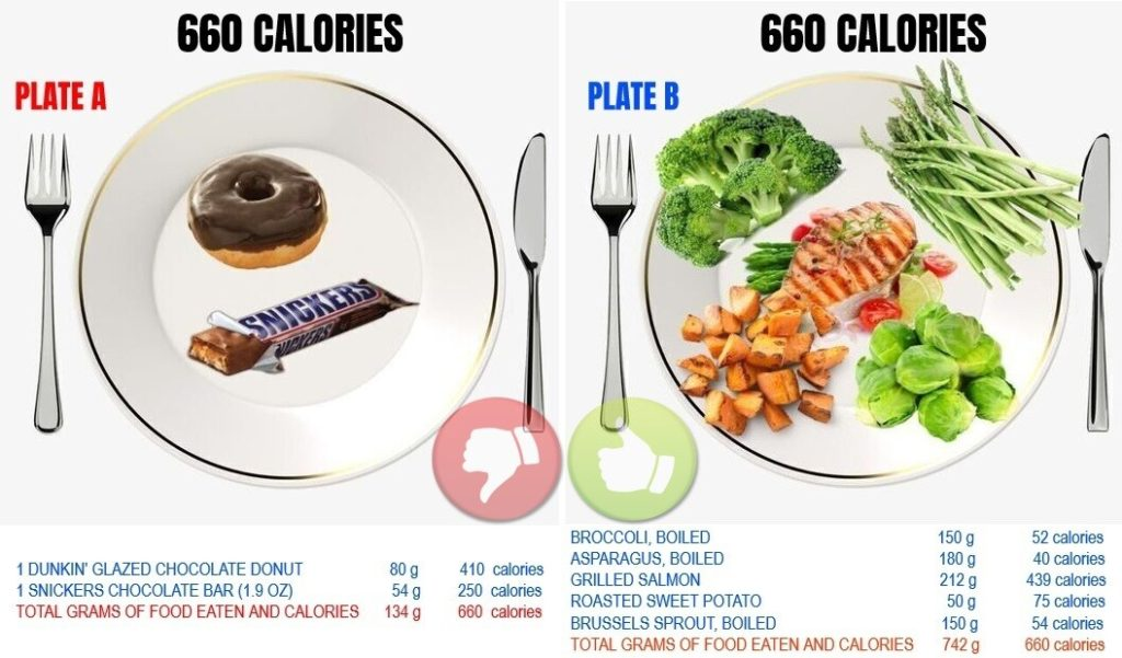 same amount of calories from different food sources