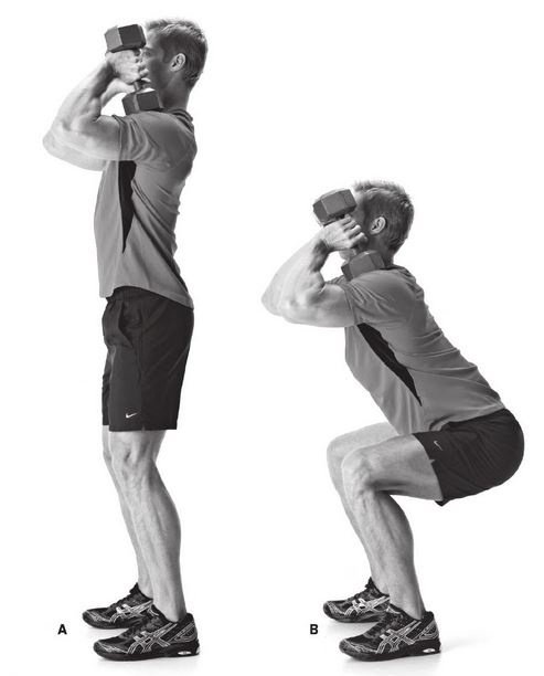 dumbbell front squat exercise instructions