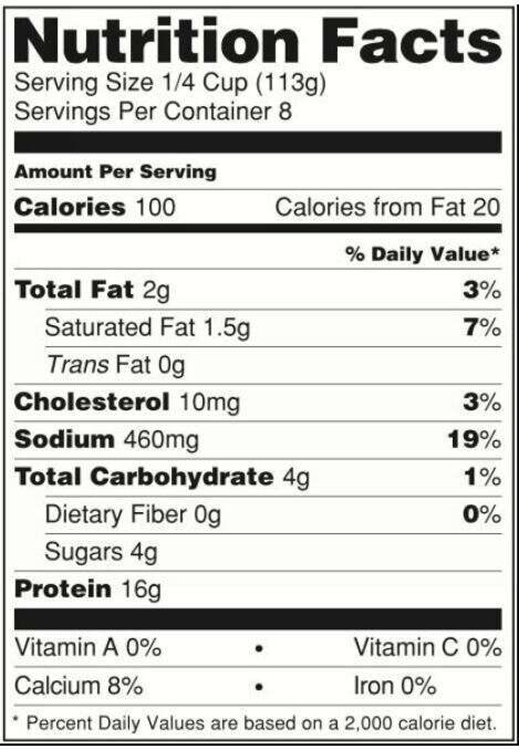 nutrition facts label example