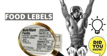 bodybuilder reading nutrition facts label
