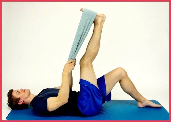 lying hamstring stretch with band or towel