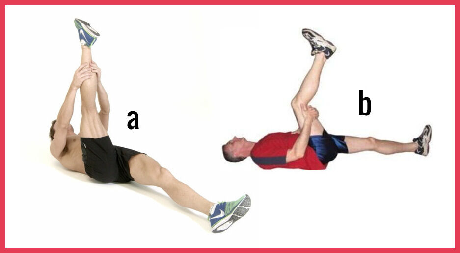 lying hamstring stretch with leg bent or straight